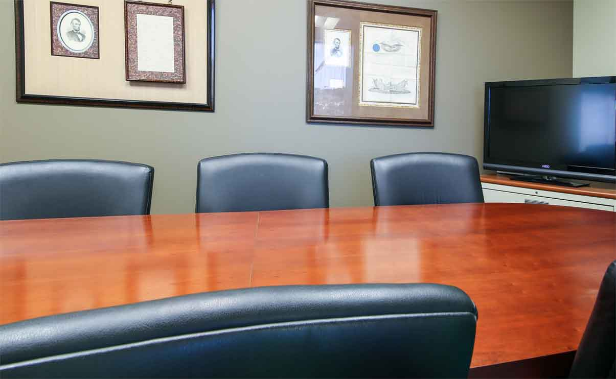 in office divorce mediation meeting table