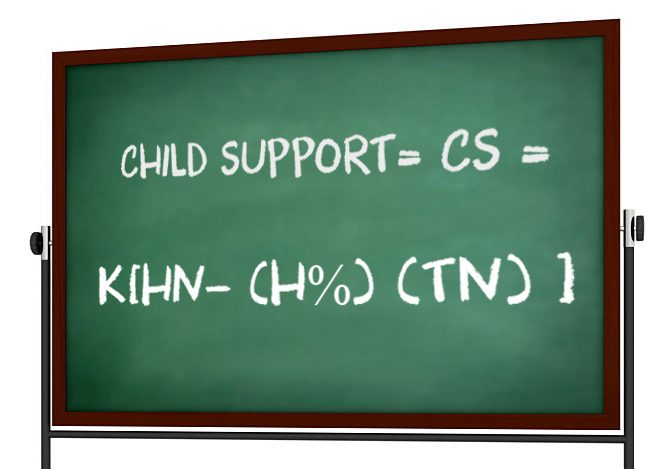 chalkboard with child support formula written on it